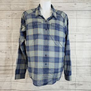 Toad&Co Airbrush Deco Shirt Sz Large Blue Plaid